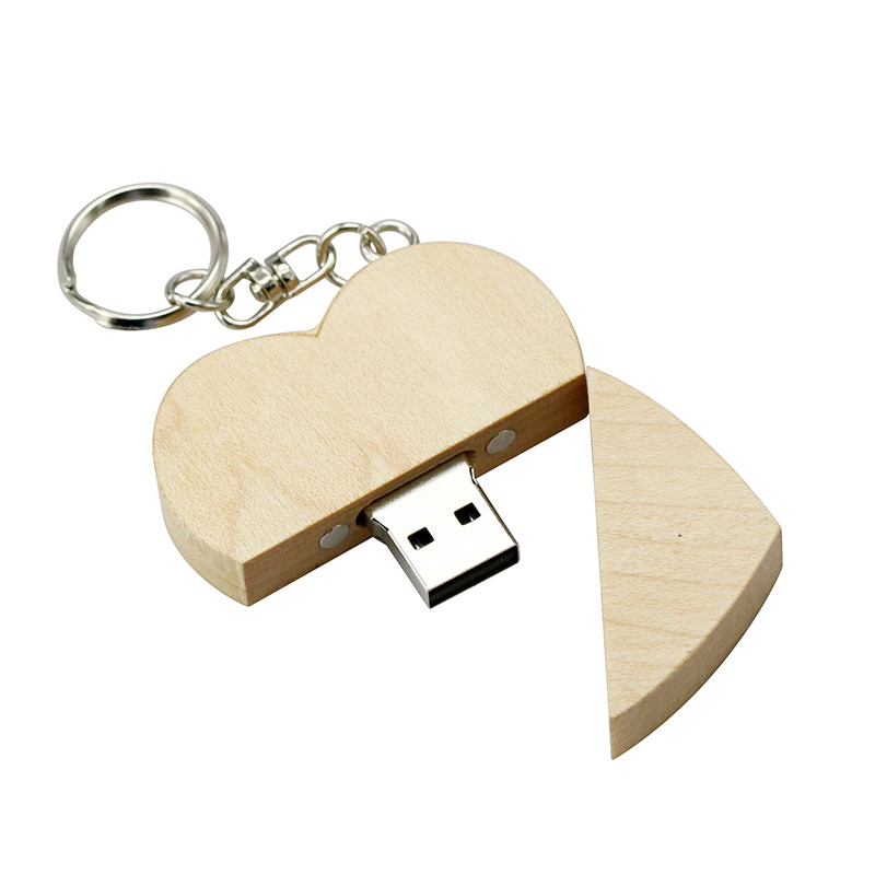 wood 007 heart usb drives